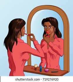 Vector illustration of an attractive young black woman with lipstick looking at the mirror and applying red lipstick to her lips.