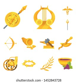 Vector illustration of attributes and greek logo. Collection of attributes and god stock symbol for web.