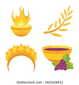 Vector illustration of attributes and greek sign. Set of attributes and god stock vector illustration.