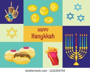 Vector illustration with attributes of the holiday of Hanukkah on the background of multi-colored dice