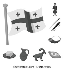 Vector illustration of attributes and tourism symbol. Set of attributes and national vector icon for stock.