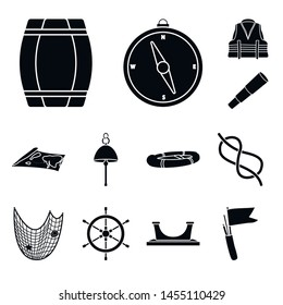 Vector illustration of attributes and vintage icon. Set of attributes and sea stock vector illustration.