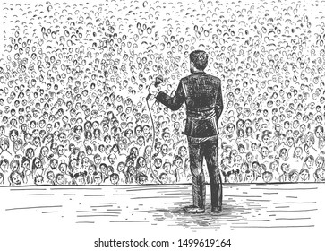 Vector illustration of audience or seminar. Conference speaker wearing suit with microphone standing on stage. People crowd. Businessman giving business or education speech. Vintage hand drawn style.