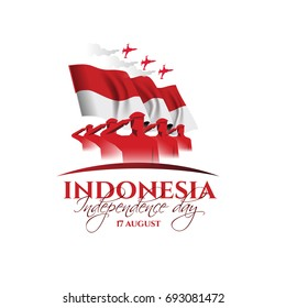 vector illustration. August 17 is the national day of Indonesia, happy day is independent. Vector design elements for decoration of holiday brochures, business cards, posters.