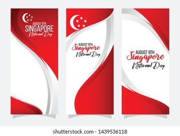 vector illustration August 9th Singapore National Day. celebration republic, graphic for design element.