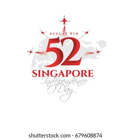 vector illustration August 9th Singapore independence day. city-state Singapore National Day. celebration republic, graphic for design element