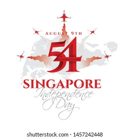 vector illustration August 9th Singapore's independence day. city-state Singapore National Day. celebration republic, graphic for design element.