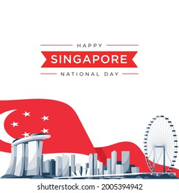 vector illustration August 9th Singapore's independence day. city-state Singapore National Day. celebration republic, graphic for design element