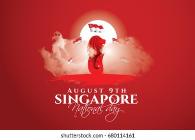 vector illustration August 9th Singapore's independence day. city-state Singapore National Day. celebration republic, graphic for design element. Symbol of singapore lion fish
