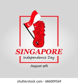 vector illustration August 9th Singapore's independence day. city-state Singapore National Day. celebration republic, graphic for design elements. Modern minimalist design.