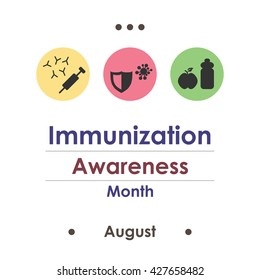 vector illustration / august is immunization awareness month