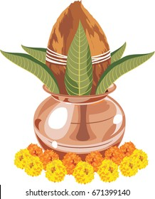 vector illustration of Auspicious Copper Kalash with Coconut, flowers and leaves. arranged for puja