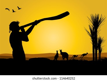 vector illustration of australia with an aboriginal man blowing  into a didjeridu  and kangaroos at dusk