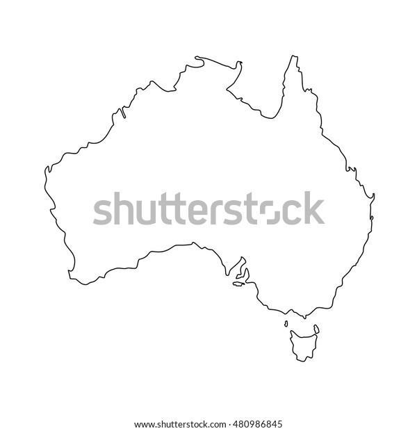 Australia Map Outline Vector.Vector Illustration Australia Map Outline Drawing Stock Vector