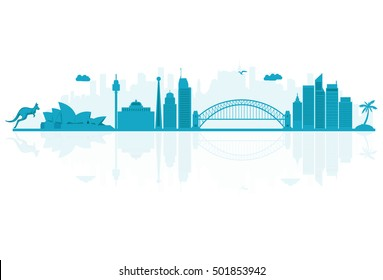 Vector illustration. Australia skyline detailed silhouette.