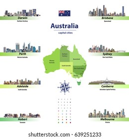 vector illustration of australia states map with skylines of capital cities