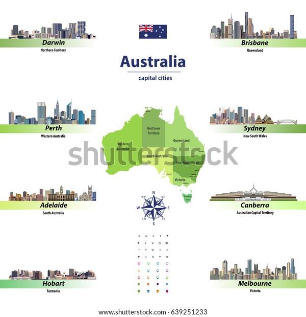 Vector Illustration Australia States Map Skylines Stock Vector Royalty Free 639251233