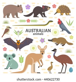 Vector illustration of Australian animals: flying fox, kangaroo, koala, Tasmanian devil, echidna, wombat, emu, cockatoo, platypus, isolated on transparent background.