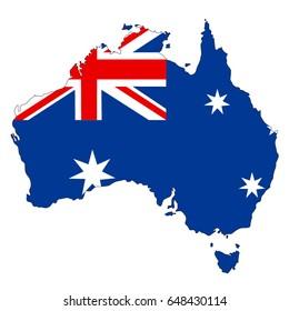 vector illustration of Australian map and flag