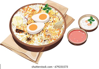 Vector Illustration of authentic indian/Hyderabadi egg biryani