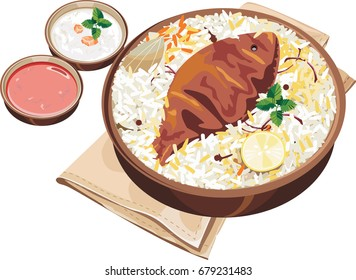Vector Illustration of authentic indian/Hyderabadi fish biryani