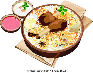 Vector Illustration of authentic indian/Hyderabadi mutton biryani