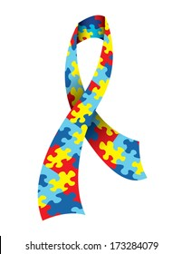 A vector illustration of an Autism Awareness Ribbon made with a symbolic jigsaw puzzle pattern in autism colors. EPS 10.