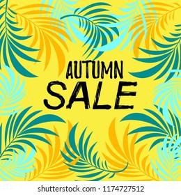 Vector illustration, Autumn   design with leaves  simple background. Autumn sale text.