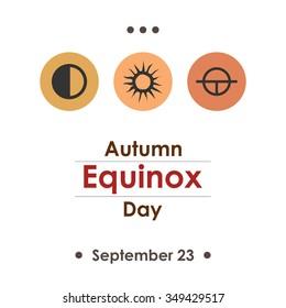 Vector illustration for autumn equinox day in september poster design on white background