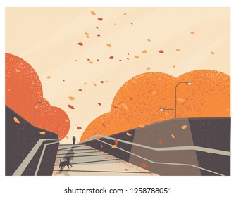 Vector illustration of Autumn or fall scene.Man handle shopping bag walking on the street.Happy dog waiting.Minimal landscape background.