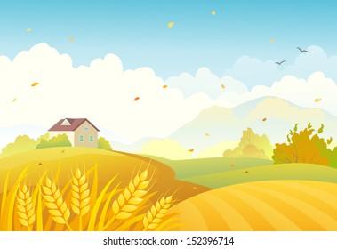 Vector illustration of an autumn farm landscape