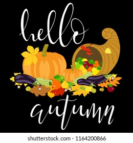 """vector illustration of autumn harvest of fruits and vegetables in cornucopia on black background and white lettering """"Hello autumn"""""""