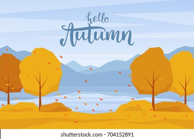 Vector illustration: Autumn landscape with mountains lake, trees and fall  leaves