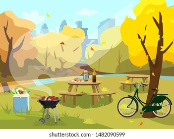 Vector illustration of autumn landscape in park. Picnic table with sandwiches, thermos and wine. Barbecue with food and cooler bag with products. Bike near tree. City at the background. Flat style.