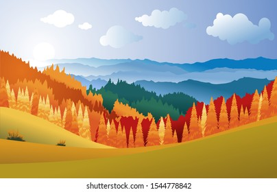 Vector illustration of autumn landscape with yellow, red,orange forest ,green  fields and mountains at sunset with beautiful white could and  blue sky.