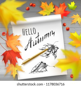 Vector illustration with autumn leaves of maple and album with hand painted leaves and text Hello Autumn. Photorealistic leaves big, small, blurry.