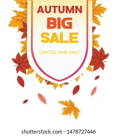 Vector illustration of Autumn sale banner design with discount label in colorful autumn leaves background for fall season shopping promotion.