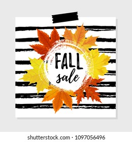 Vector illustration, Autumn sale tag design with bright autumn leaves and hand drawn paint background. Fall sale text.