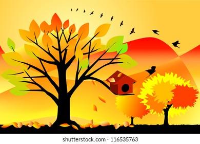 vector illustration of autumn scene