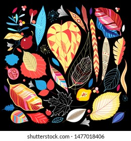 Vector illustration autumn set of colorful leaves on a dark background. Design template for poster or web page.