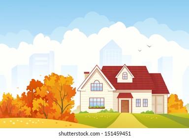 Vector illustration of an autumn suburban house