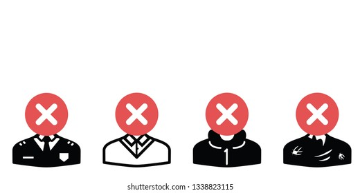 vector illustration of avatar images and red cross for deleted profiles in social media concept