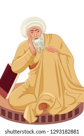 A vector illustration of Averroes Muslim Philosopher