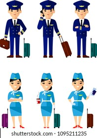 Vector illustration of aviation profession crew, pilot and stewardess with luggage in flat style. Set of people aviation, pilot and stewardess with baggage in different poses
