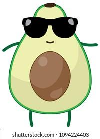 vector illustration of an avocado fruit wearing sunglasses