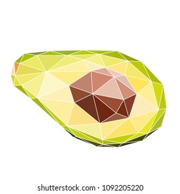 Vector illustration of avocado in polygonal style. Exotic fruit with a polygonal style. Print design