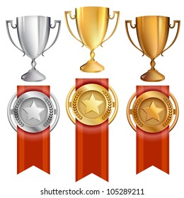 Vector Illustration of award trophies for first, second, and third place ranks. 1st place is gold, 2nd place is silver, 3rd place is bronze. Red ribbons are attached to medals with stars on them. EPS10