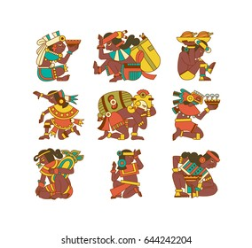 Vector illustration aztec cacao pattern collection for chocolate package design on brown, red, green, grey, yellow colors in white backdrop.
