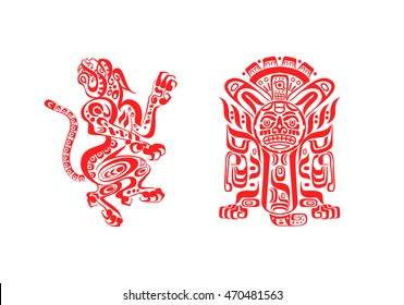 vector illustration aztec mayan tattoos jaguar and warrior in red color isolated