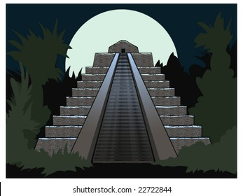 vector illustration of an Aztec temple at night